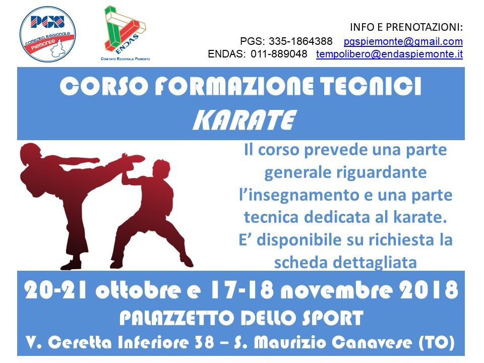 (2018 Ottobre-Novembre) Volantino Corso formazione tecnici Karate